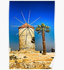 Ancient windmill in Rhodes Poster