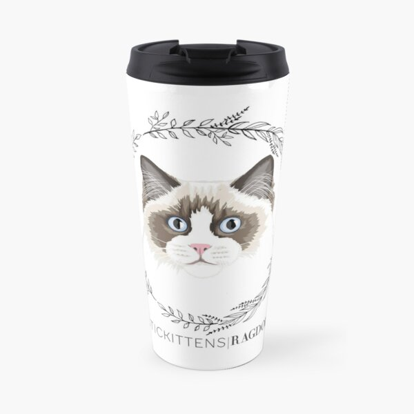 Seal Bicolor Ragdoll Wreath Travel Mug