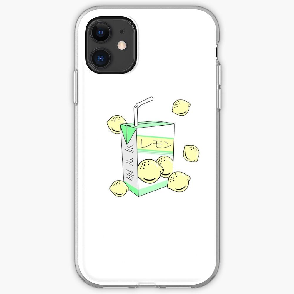 Japanese Lemon Juice Box 90s Aesthetic Pastel Anime   iPhone Case & Cover