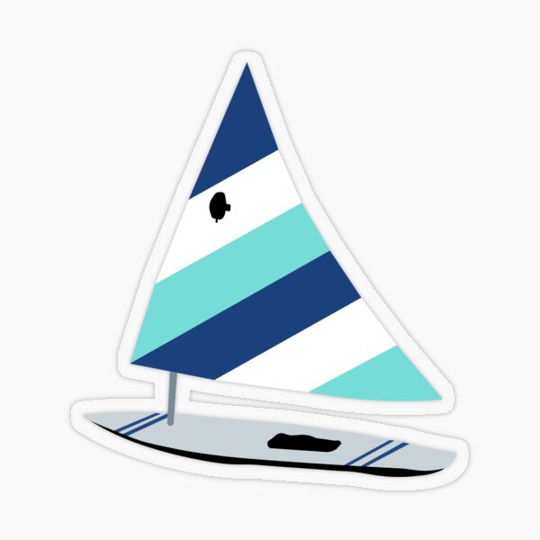 Navy and Turquoise Sailboat Transparent Sticker