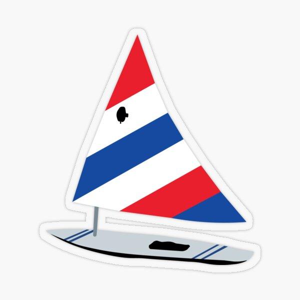 Red/White/Blue Sailboat Transparent Sticker
