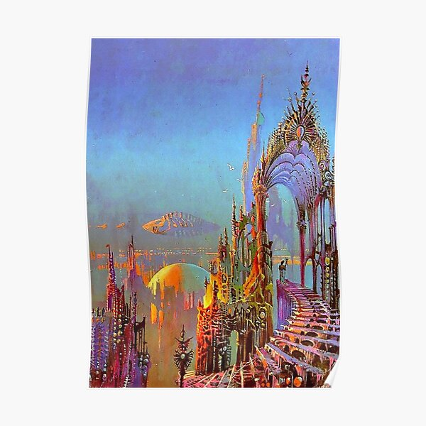 City Skyline 1970's Vintage Sci-Fi  Art Poster