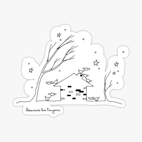 Cozy House in the Forest with Cows and Stars Glossy Sticker