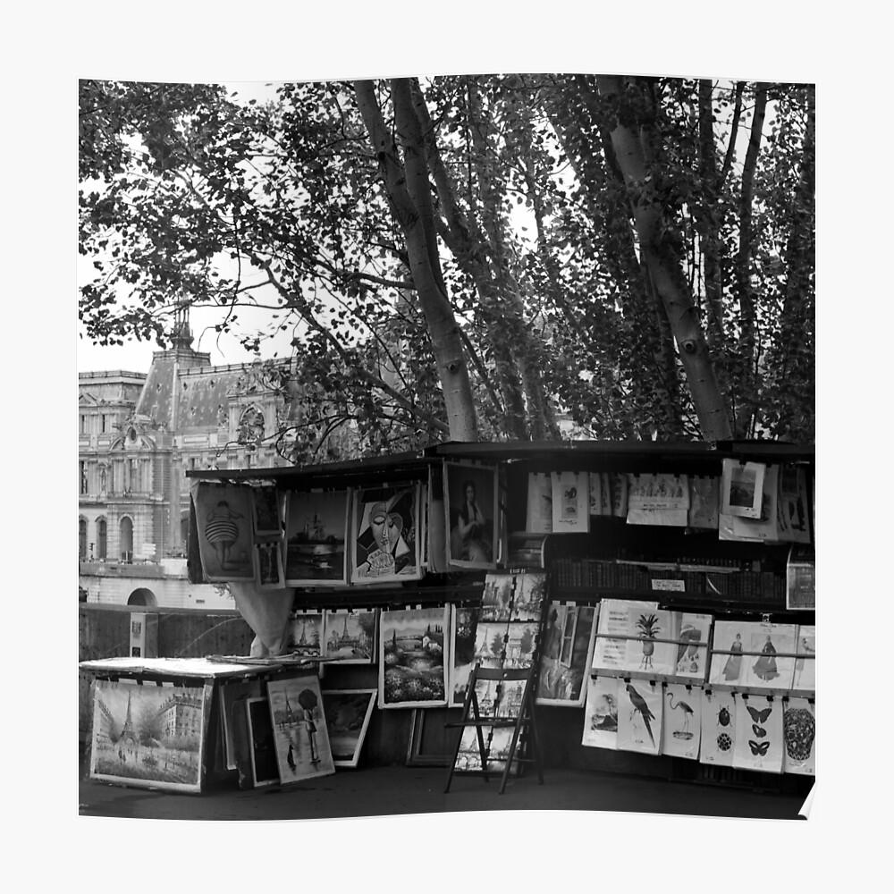 Paris Buchhändler 7bw Poster