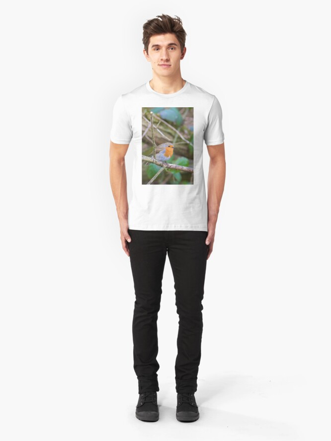 Alternate view of Robin (Erithacus Rubecula) Perched in Woodland Slim Fit T-Shirt