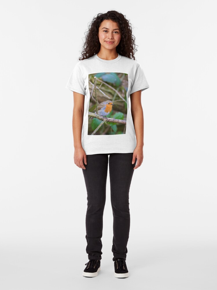 Alternate view of Robin (Erithacus Rubecula) Perched in Woodland Classic T-Shirt