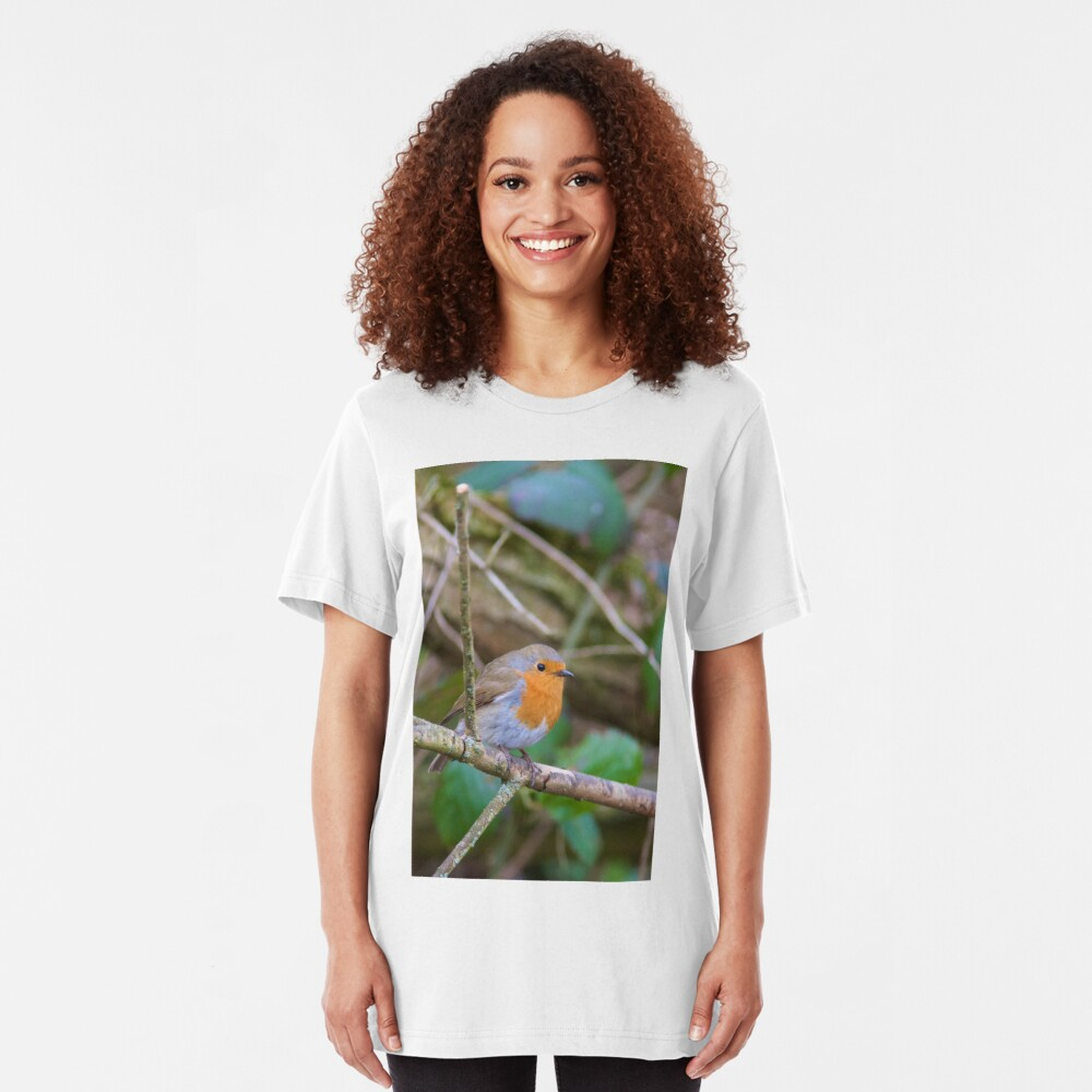 Robin (Erithacus Rubecula) Perched in Woodland Slim Fit T-Shirt