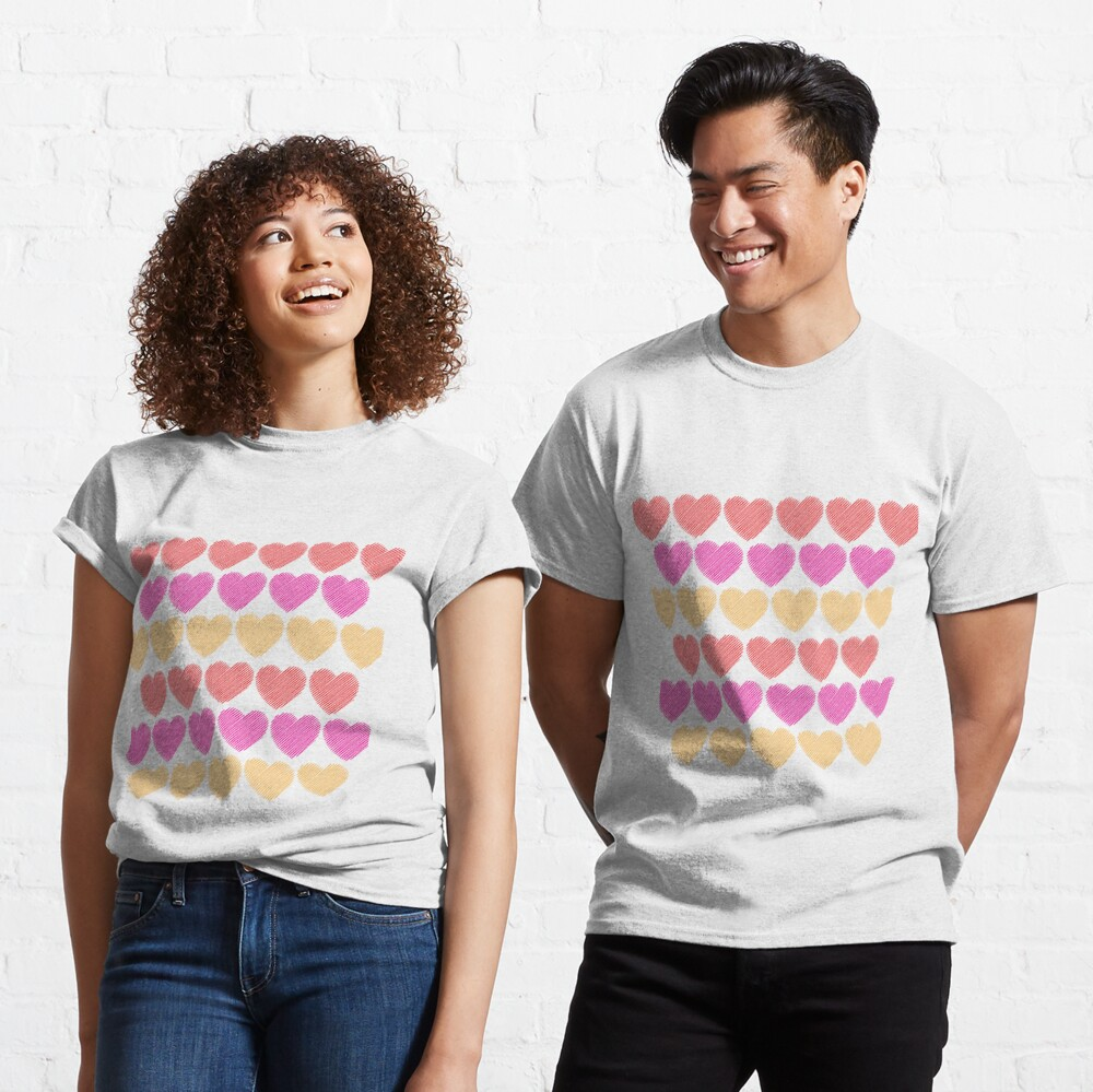 Red, Pink and Yellow Hearts Classic T-Shirt