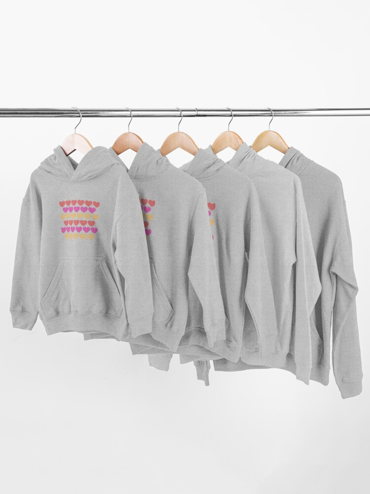 Alternate view of Red, Pink and Yellow Hearts Kids Pullover Hoodie