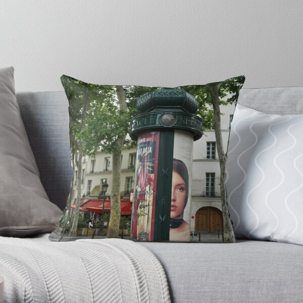 Paris Advertising Columns 1 Throw Pillow