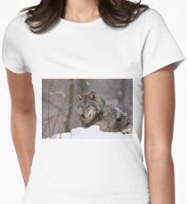 Timberwolf in Winter Women's Fitted T-Shirt