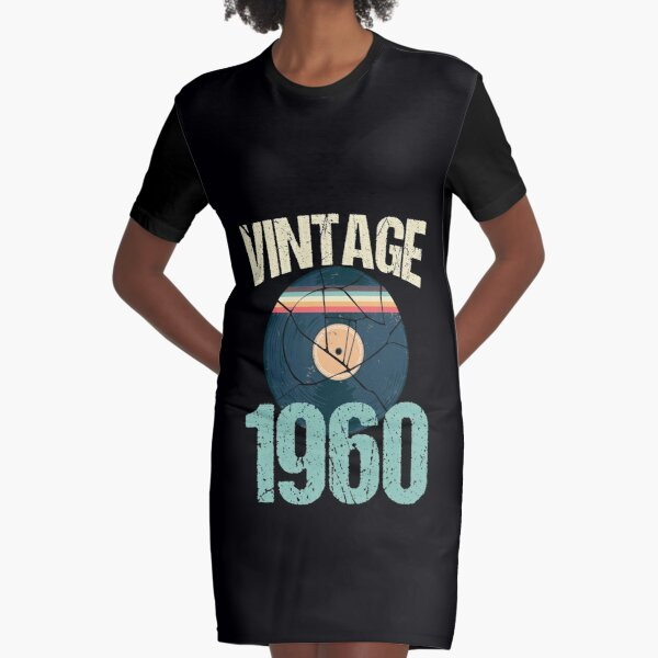 Retro Vintage 1960 60 th Birthday Record Vinyl Vintage Disco Bday Gift Graphic T-Shirt Dress
