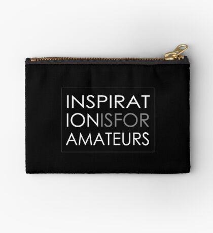 Inspiration Is For Amateurs Motivation Slogan (Dark Theme) Zipper Pouch