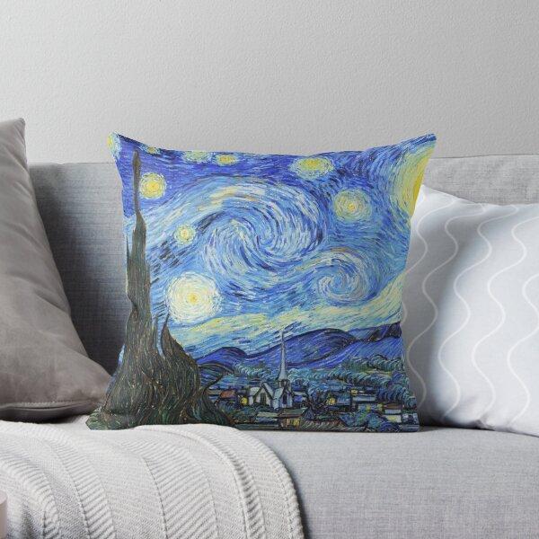 Vincent Van Gogh starry night, oil on canvas,post-impressionist,Saint-Rémy-de-Provence Throw Pillow