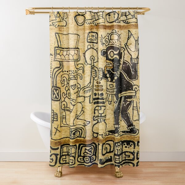 Mayan Art #MayanArt  #Maya #pattern, #art, #text, #old, #design, abstract, paper, symbol, ancient, antique Shower Curtain