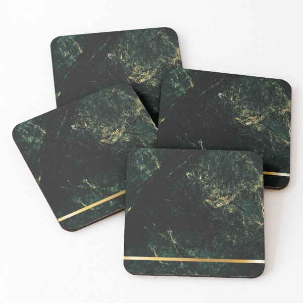 dark green gold marble with gold stripe Coasters (Set of 4)