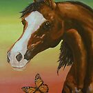 Horse and Butterfly by Pam Humbargar