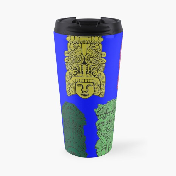 #Illustration, #art, #ancient, #antique, ornate, old, design, aztec, symbol, decoration Travel Mug