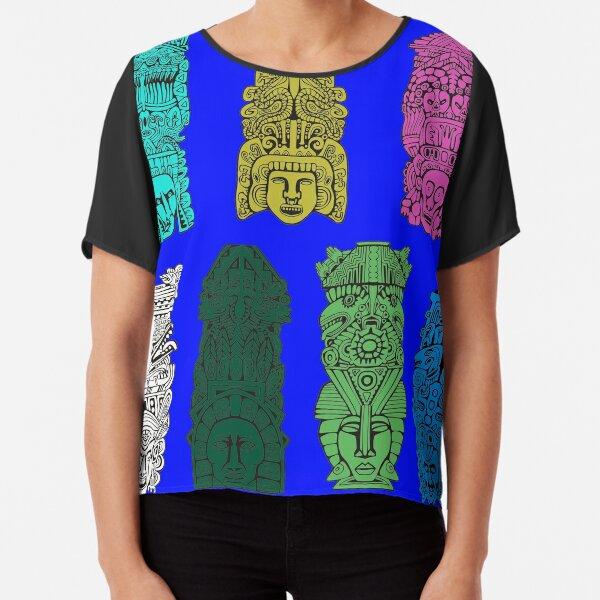 #Illustration, #art, #ancient, #antique, ornate, old, design, aztec, symbol, decoration Chiffon Top