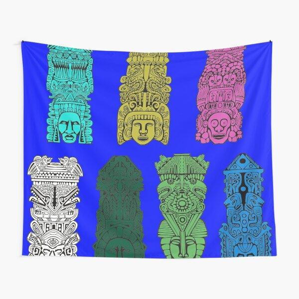 #Illustration, #art, #ancient, #antique, ornate, old, design, aztec, symbol, decoration Tapestry