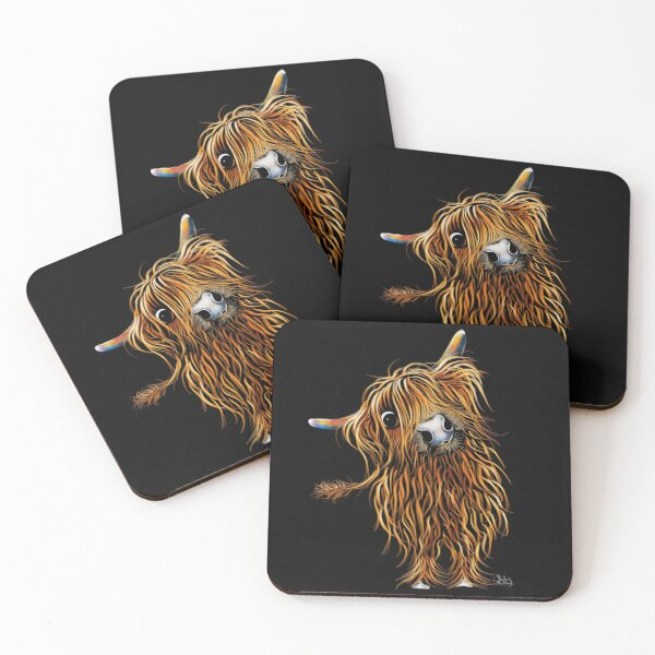HiGHLaND CoW PRiNT SCoTTiSH ' CoooWeee ' BY SHiRLeY MacARTHuR Coasters (Set of 4)