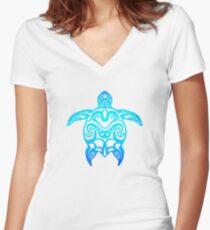 Ocean Blue Tribal Turtle Women's Fitted V-Neck T-Shirt
