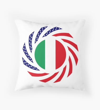 Italian American Multinational Patriot Flag Series Throw Pillow