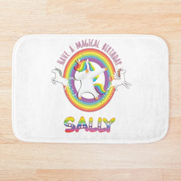 Sally Pink  Sally Have A Magical Birthday Unicorn Rainbow Dabbing - Special Personalised Gift For Sally Bath Mat