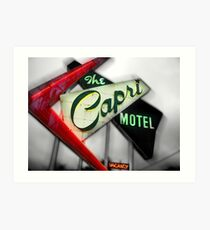 capri hotel, route 66 Art Print