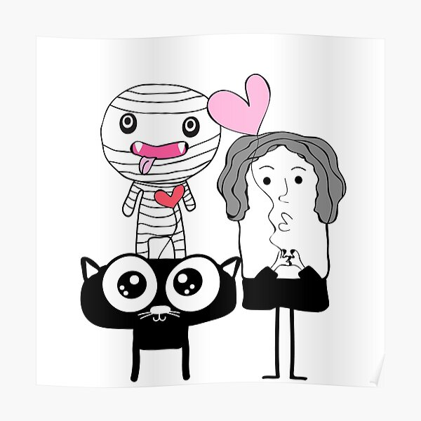 cute mummy  and black cat  Poster