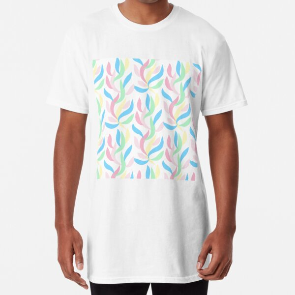 pastel color of leaves  abstract pattern background for design  Long T-Shirt