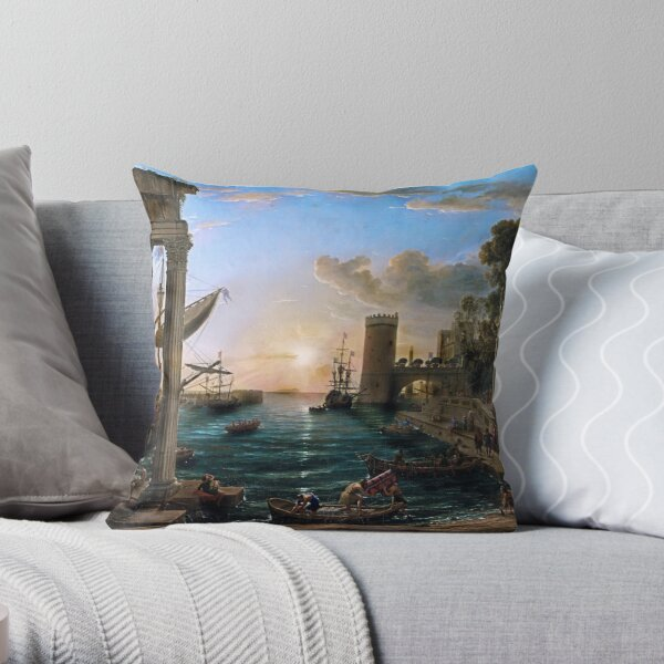 """Claude Lorrains - """"The Embarkation of the Queen of Sheba""""  Throw Pillow"""