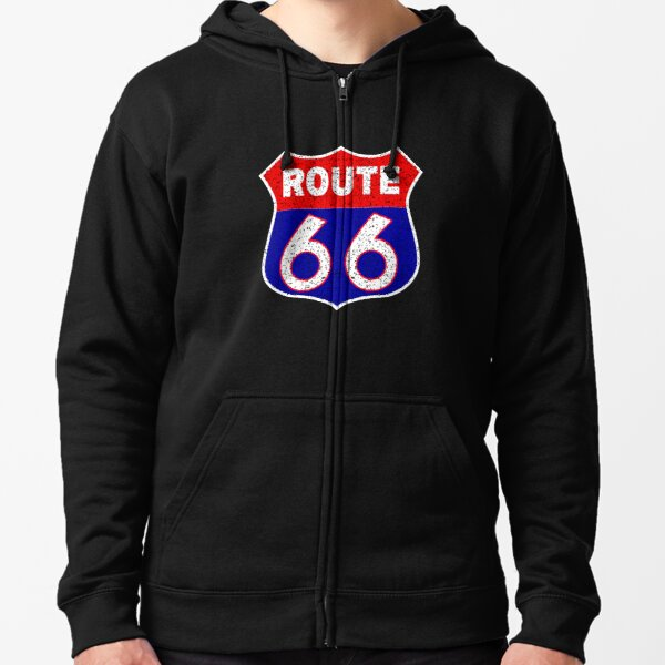 Route 66 Distressed Vintage Sign American Mother Road Ride Free Hoodies for Men