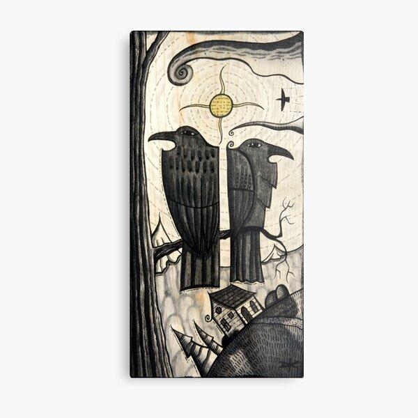 Two Corvids  dk_2019july13a crow raven bird art Metal Print