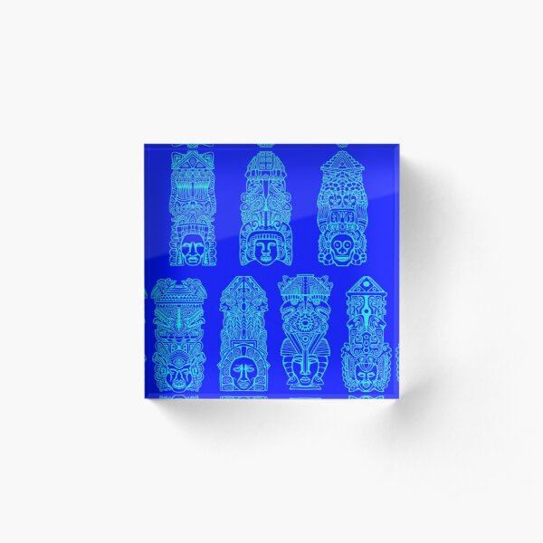 #Illustration, #art, #ancient, #antique, ornate, old, design, aztec, symbol, decoration Acrylic Block