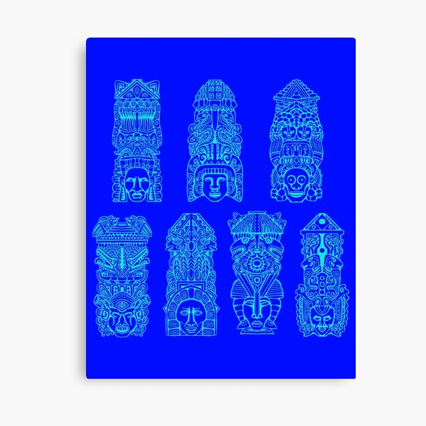 #Illustration, #art, #ancient, #antique, ornate, old, design, aztec, symbol, decoration Canvas Print