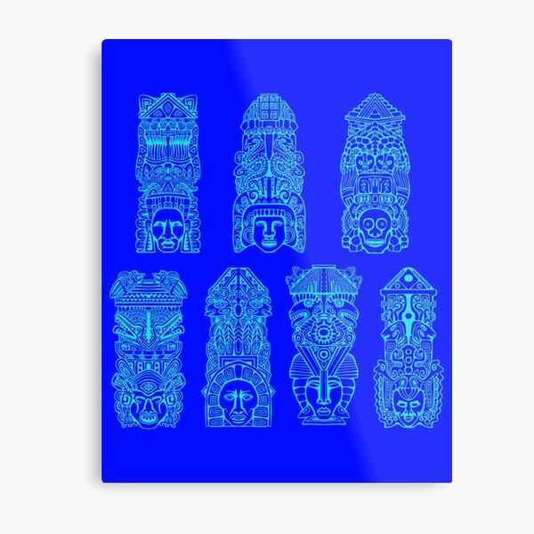 #Illustration, #art, #ancient, #antique, ornate, old, design, aztec, symbol, decoration Metal Print
