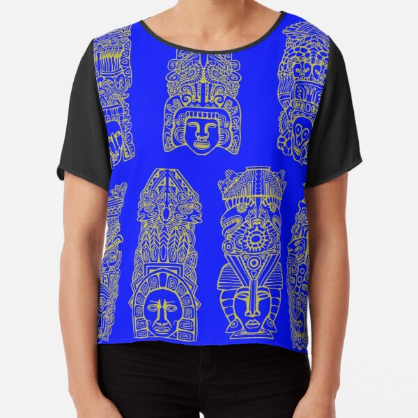 #Illustration, #art, #ancient, #antique, ornate, old, design, aztec, symbol, decoration Chiffon Top