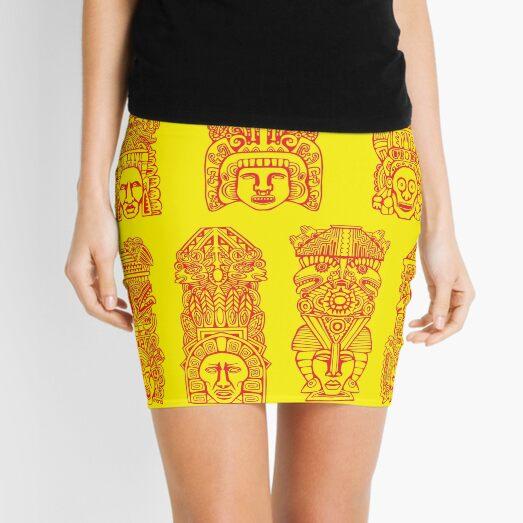 #Illustration, #art, #ancient, #antique, ornate, old, design, aztec, symbol, decoration Mini Skirt