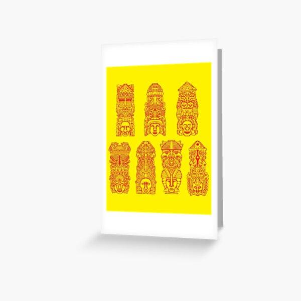 #Illustration, #art, #ancient, #antique, ornate, old, design, aztec, symbol, decoration Greeting Card