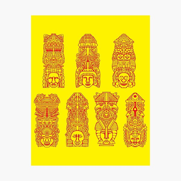 #Illustration, #art, #ancient, #antique, ornate, old, design, aztec, symbol, decoration Photographic Print