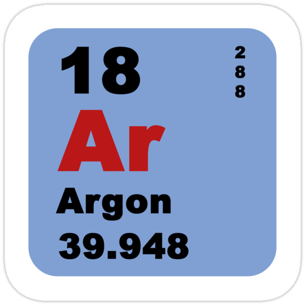 """Periodic Table of Elements: No. 18 Argon"" Stickers by ..."