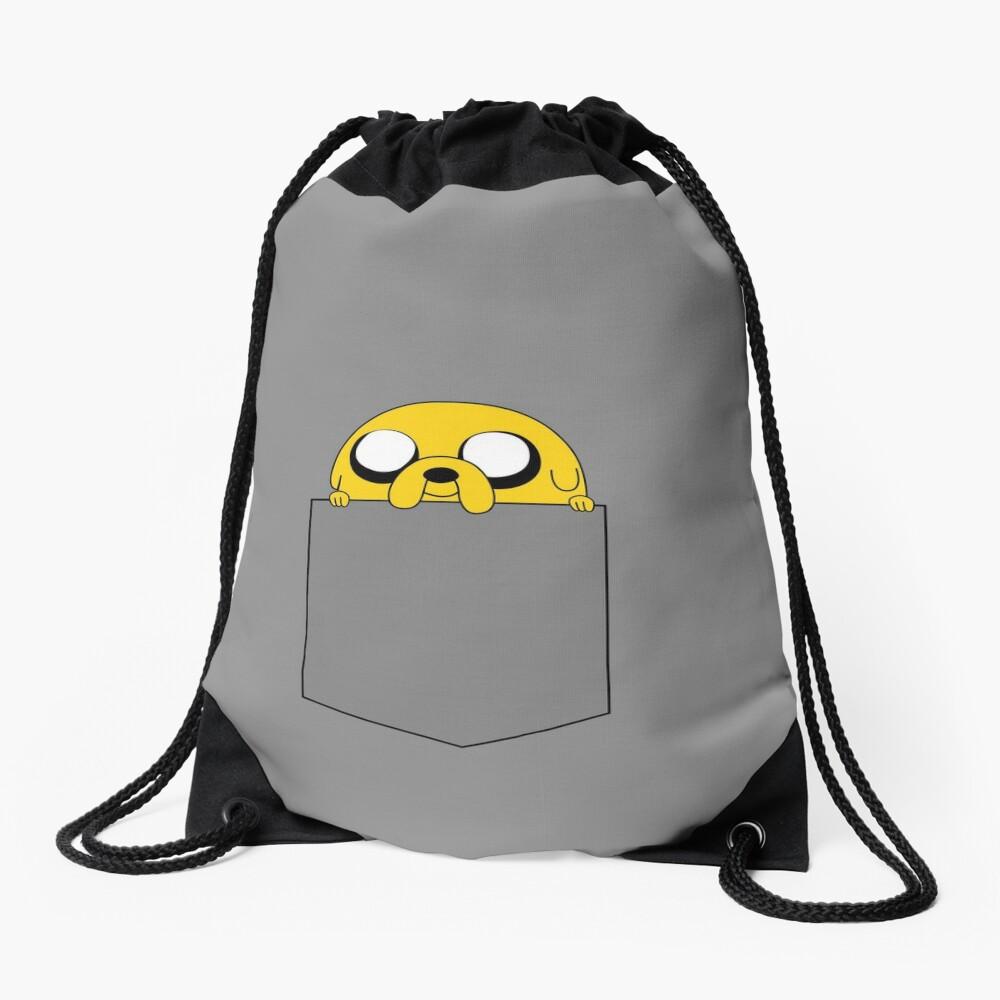 Adventure Time Jake peeks out of a pocket Drawstring Bag