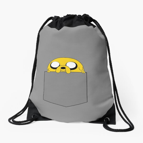 Adventure Time Jake peeks out of a pocket Drawstring Bag
