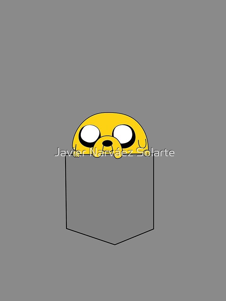 Adventure Time Jake peeks out of a pocket by javisolarte