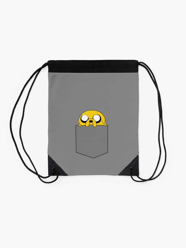 Alternate view of Adventure Time Jake peeks out of a pocket Drawstring Bag