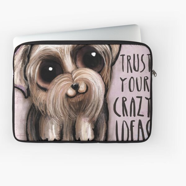 Yorkshire with big eyes and a quote Laptop Sleeve