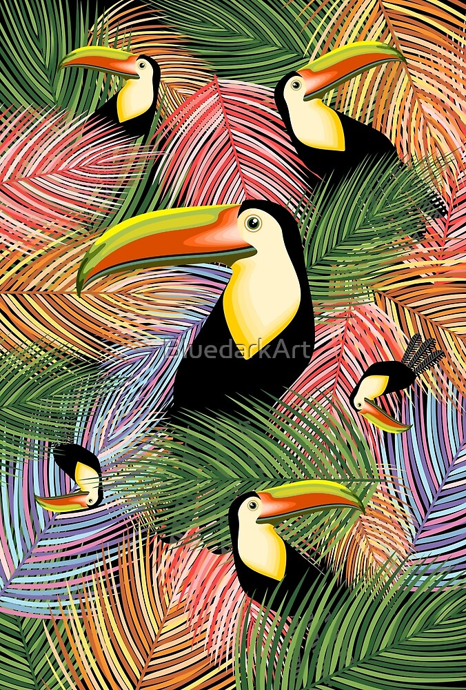 Toucans on the Jungle Exotic Summer Pattern by BluedarkArt
