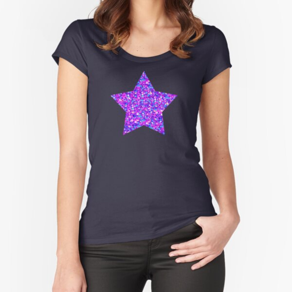 Sparkle Confetti Stars   Multi-color with Fuchsia Tint    Fitted Scoop T-Shirt