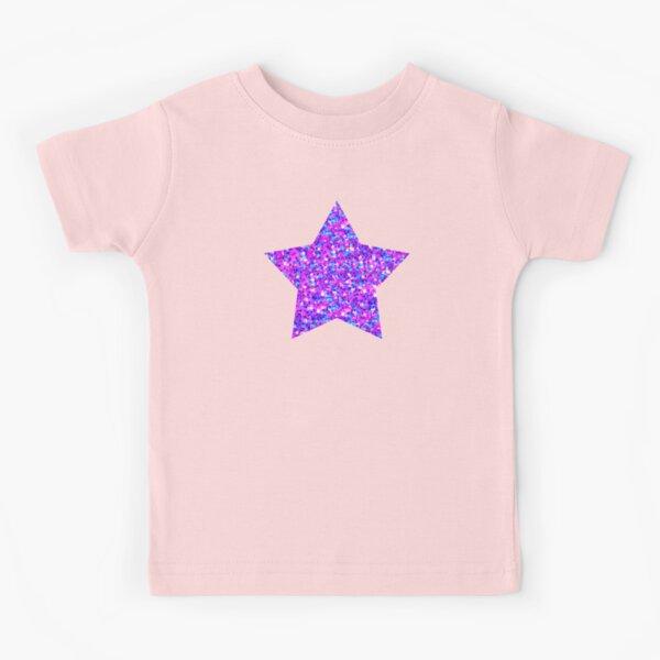 Sparkle Confetti Stars | Multi-color with Fuchsia Tint |  Kids T-Shirt